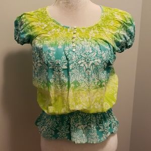 IZOD Summer Top Batik Lime Green/Aqua Gathered